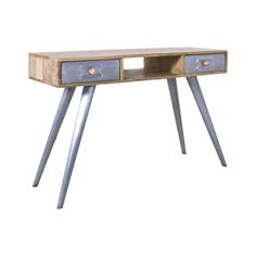 Retro Scandinavian Style Reclaimed Wood Study Office Desk or Console Table With Tapered Rusty legs, recycled Boat Wood And made mix oak for your office desks save recycled again we are retro Eco friendly furniture Office Desks Uk, Aviation Furniture, Reclaimed Wood Desk, Metal Chairs, Cool Furniture, Office Furniture, Modern Industrial, Living Room Chairs, Wood And Metal