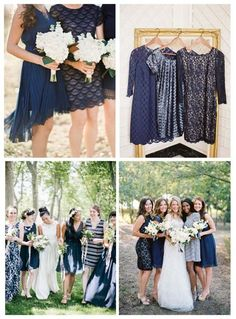 Different blue themed bridesmaid dresses.// VIA: DRESSFORTHEWEDDING.COM. TOP LEFT: PHOTOGRAPHY:BRETTHEIDEBRECHT, TOP RIGHT: PHOTOGRAPHY: JESSICA BURKE, BOTTOM LEFT: PHOTOGRAPHY: EMILY WREN, BOTTOM RIGHT: RYAN KAY