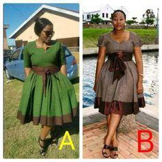 shweshwe fashion outfits designs 2017 - style you 7 African Fashion Designers, Latest African Fashion Dresses, African Inspired Fashion, African Dresses For Women, African Print Dresses, African Print Fashion, Africa Fashion, African Attire, African Wear