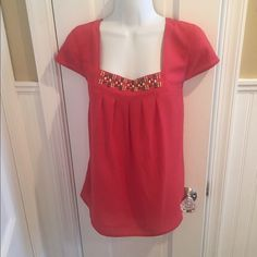 LOFT top Reddish color with beading and pleated front LOFT Tops