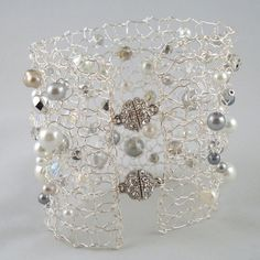 Wide Pearl Bracelet- glamorous big jewelry, metal lace, swarovski crystals, pearls, white, gray, silver, Golden Globes Luxury ... pinned with #Bazaart - www.bazaart.me