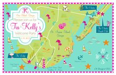 CW Designs Rehearsal Dinner/Welcome Party Invitation Map!