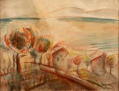 József Egry: Lights over Mount Badacsony Lights, Landscape, Image, Paintings, Art, Board, Art Background, Scenery, Paint