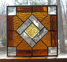 Handmade Stained Glass Panel  Square  by CartersStainedGlass