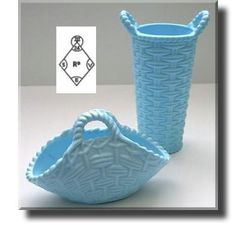 Blue Milk Glass Baskets - Sowerby - c.1876 Sowerby glass is a fun collectors item for our family