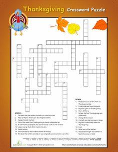Worksheets: Thanksgiving Crossword: Challenging