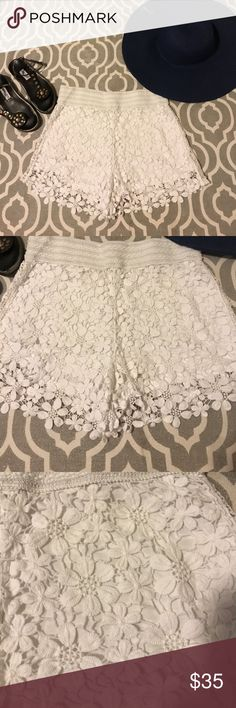 Miss Me lace shorts Get festival ready with these beautiful boho chic lace shorts. Lightweight 100% cotton; lined. EUC Miss Me Shorts