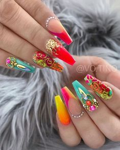 Dope Nails, Glam Nails, Fancy Nails, Bling Nails, Pretty Nails, My Nails, Coffin Nails Matte, Best Acrylic Nails, Nailart