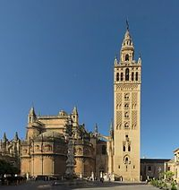 Seville Cathedral - Wikipedia, the free encyclopedia. Seville Cathedral, is a Roman Catholic cathedral in Seville. It is the largest Gothic cathedral and the third-largest church in the world.  It was registered in 1987 by UNESCO as a World Heritage Site. The Giralda is the former minaret of the mosque that stood on the site under Muslim rule, and was built to resemble the minaret of the Koutoubia Mosque in Marrakech, Morocco. It was converted into a bell tower for the cathedral after the…