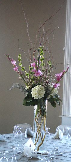 Arrangement: Curly Willow, Hydrangea Mix by Rose of Sharon Floral Designs, via Flickr