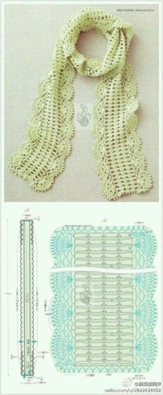 Crochet scarf pattern love the simple center with lacy edges Crochet Vintage, Crochet Fox, Crochet Lace, Crochet Hooks, Crochet Scarf Diagram, Crochet Chart, Crochet Stitches, Crochet Patterns, Crochet Scarves