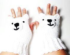 Polar Bear fingerless gloves, animal fingerless mitts, crochet fingerless mittens.