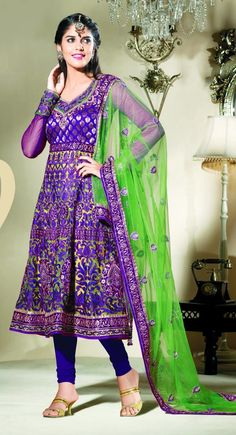 Attractive Bluish Purple #Salwar #Kameez Price:$92.00