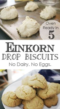 Recipe for einkorn flour drop biscuits. No dairy, no eggs, oven ready in less than 5 minutes!