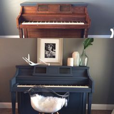 DIY painted piano! Used Valspar chalk paint in Opera Gown. No sanding! Just wiped it down! Took and hour and half! Instead of using tape to paint around the keys... I cut a piece of cardboard from a cereal box, pushed the keys down, inserted the card board in between keys and wood and it gave me a clean line while protecting the keys from paint! Then slid the cardboard down the piano and repeated steps until done! Easiest thing I have ever painted! I thought it would take super long and be…