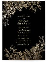 """""""Engraved Flowers"""" - Customizable Foil-pressed Bridal Shower Invitations in Gold or Black by Phrosne Ras. Wedding Invitation Card Design, Botanical Wedding Invitations, Wedding Shower Invitations, Classic Wedding Invitations, Bridal Shower Party, Halloween Masquerade, Floral Flowers, Hand Lettering, Wedding Rings"""