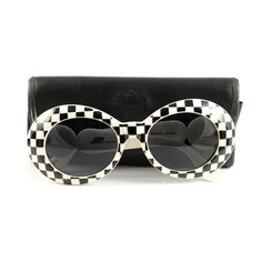 6abb7212a6b Pre-Owned Gianni Versace Vintage Checkered Sunglasses (£110) ❤ liked on  Polyvore featuring accessories