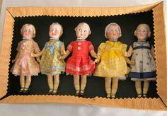 Rare lot  Heubach mignonette dolls -square mark- sample box-Germany