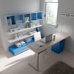 """#Arredamento #Cameretta Moretti Compact: Collezione 2012 """"Team"""" > Kids – Soluzione a #Soppalco >> ks17 #scrivania #mensole http://www.moretticompact.it/kids.htm"""