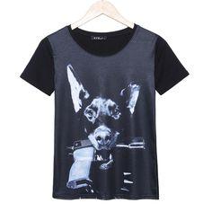 2015 casual fashion t shirt women gun&dog printed t-shirt summer short sleeve plus size rock punk tees woman tops