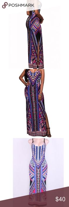🌺 Dahlia Tribal Maxi 🌺 🌴Tropical Tribal Maxi 🌴 Super cute strappy back detail that I looooveeeee! Gorgeous vibrant colors perfect for summer 🌞 Bundle & save! Love & Reign Dresses Maxi
