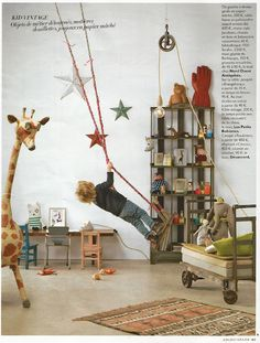 Grazia déco - désaccord~ ♥ this for a boys room ..the pullies, rope, crate book & toy display ,industrial dollie....