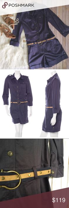"Diane Von Furstenberg navy blue belted romper This is a lovely navy (sort of denim material) long sleeve romper. Tan and navy matching belt included. Size tag is missing, so I have approximated the size in the description and have included measurements for this item. Please be sure to ask for any additional measurements you may need!  Bust 18"" Waist 14"" Inseam 4.5"" Arm length 20""  No significant or noticeable flaws, stains, or imperfections. Excellent pre-loved condition! Diane Von…"