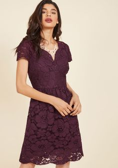 <p>Show off your peerless panache by donning this purple lace dress! Featuring a V-neckline, cap sleeves, and scalloped hem that each give way to super-feminine eyelash fringe, this ModCloth-exclusive stunner by Wendy Bird offers an elegance that simply cannot be matched!</p>