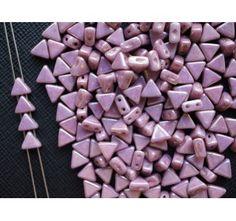 50pcs Khéops® par Puca® 6mm 2-hole Czech Glass Pressed Beads Opaque Mix Violet Gold Ceramic Look