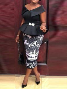 Description of Mid-Calf Short Sleeve Falbala Party/Cocktail Women's Sheath Dress Latest African Fashion Dresses, African Dresses For Women, African Print Dresses, African Print Fashion, African Attire, Ankara Dress Styles, African Lace Styles, Africa Dress, African Traditional Dresses
