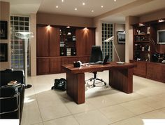 classic fitted home office in american black walnut