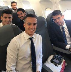 Lucas Vazquez (centre) poses with (left-right) Alvaro Morata, Nacho, Isco and Matteo Kovacic