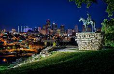 Tom Finzel. Scout looks over the Kansas City Skyline.