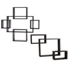 x Intersecting Rectangular Wall Shelf - Danya B. Large Corner Shelf, Corner Unit, Corner Shelves, Office Shelf, Xmas Wishes, Laminated Mdf, Wall Mounted Shelves, Home Decor Styles, Open Shelving