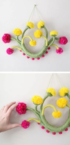 Floral fiber art wall hangings by Mandi Smethells