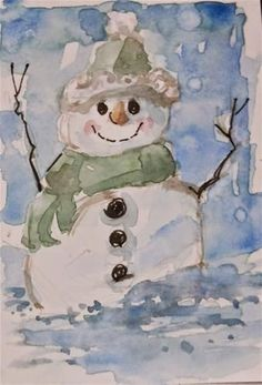 """Daily Paintworks - """"Holiday Snowman"""" - Original Fine Art for Sale - © Brande Arno Christmas Drawings Images, Christmas Paintings, Christmas Art, Xmas, Watercolor Christmas Cards, Watercolor Cards, Watercolor Paintings, Drawings Pinterest, Winter Art Projects"""
