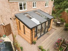 Shed Extension Ideas, House Extension Plans, House Extension Design, Roof Extension, Modern Conservatory, Conservatory Extension, Conservatory Design, Garden Room Extensions, House Extensions