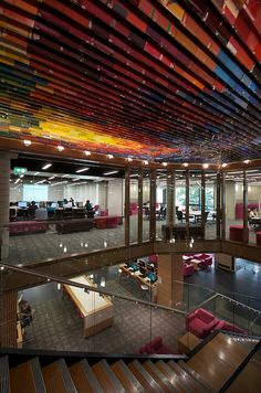QUT Library - Recycled book ceiling