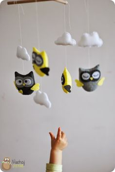 yellow grey white owl mobile felt