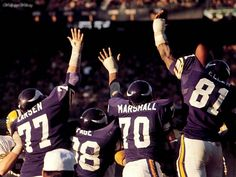 Best line of all time! MN Vikings Purple People Eaters of the 70's! Gary Larsen, Alan Page, Jim Marshall & Carl Eller!