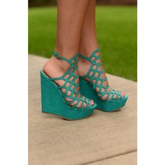 Ready For This Wedges- Aqua ❤ liked on Polyvore featuring shoes, sandals, strap wedge sandals, strappy wedge sandals, colorful sandals, platform wedge sandals and summer wedge sandals