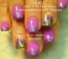 Easy Lilac Flower Nail art w/ Lavender Glitter LOVELY! #nailart #flowers #lilac