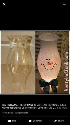 of the Best DIY Christmas Decorations - Viral Slacker - Christmas Gift Ideas - DIY Snowman Hurricane Shade - Diy Christmas Decorations, Christmas Lights Etc, Easy Christmas Ornaments, Christmas Card Holders, Pallet Christmas Tree, Christmas Wine, Christmas Candles, Christmas Holidays, Diy Decoration