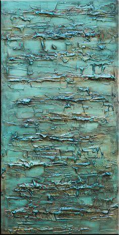 Resumen grandes pintura sobre lienzo Teal Teal por landseasky