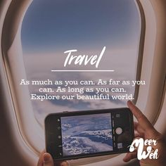 Visual Statements®️ Travel. As much as you can. As far as you can. As long as you can. Explore our beautiful world. Sprüche / Zitate / Quotes / Meerweh / Wanderlust / travel / reisen / Meer / Sonne / Inspiration