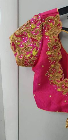 Embroidery Blouse Designs Pink Ideas Source by Blouses Cutwork Blouse Designs, Saree Kuchu Designs, Wedding Saree Blouse Designs, Pattu Saree Blouse Designs, Simple Blouse Designs, Stylish Blouse Design, Blouse Neck Designs, Lehenga Blouse, Wedding Blouses