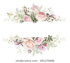 Vintage Card, Watercolor wedding invitation design with pink rose, bud and leaves. wild flower, background with floral elements for text, watercolor background. Template. frame