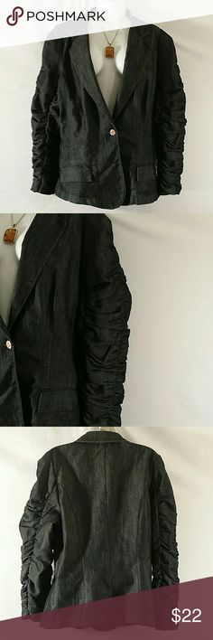 NWOT * Make an Offer 50% Off Beautiful * Dark Blue/Black Denim * Long Sleeve (Ruching) * One Button * Cotton Polyester Spandex * Bundle and Save * Loom Loom Jeans  Jackets & Coats