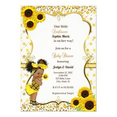 Sunflower baby shower invitation - tap to personalize and get yours  #sunflower #baby #shower #invitation #sunflowers Baby Shower Invitation Message, Baby Shower Invitation Templates, Baby Shower Invitations For Boys, Baby Shower Themes, Shower Ideas, Baby Lane, Sunflower Baby Showers, Invitation Examples, Baby Favors