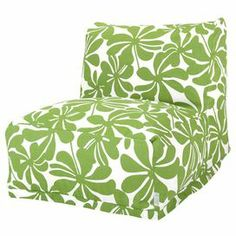 "Bring a pop of garden-chic style to your sunroom or child's playroom with this stylish bean bag lounger, featuring a bold floral motif and eco-friendly fill. Product: LoungerConstruction Material: Polyester and cotton twill cover and recycled polystyrene fillColor: SageFeatures: Zippered slipcoverEco-friendlySuitable for indoor or outdoor useDimensions: 24"" H x 36"" W x 27"" DCleaning and Care: Machine wash cover warm, tumble dry low or air dry"